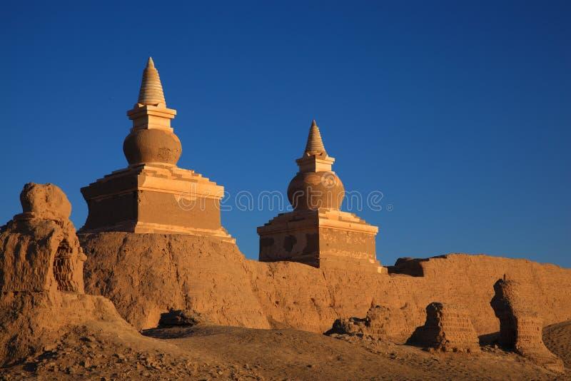 The ruin in desert stock image