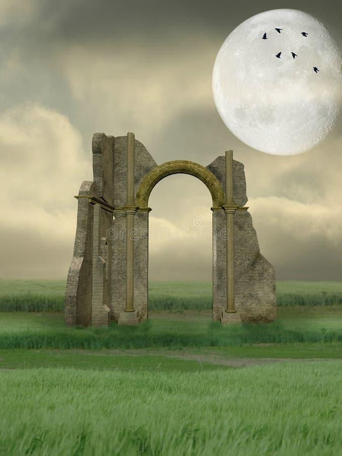 Download Ruin in the field stock illustration. Illustration of dream - 6941964
