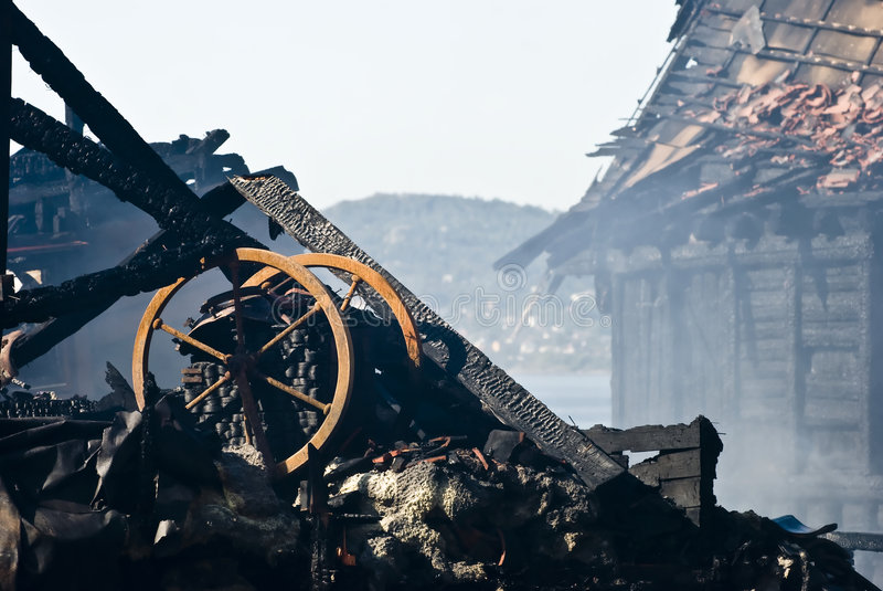 Download Ruin after fire! stock image. Image of wood, wheel, smoke - 7137415