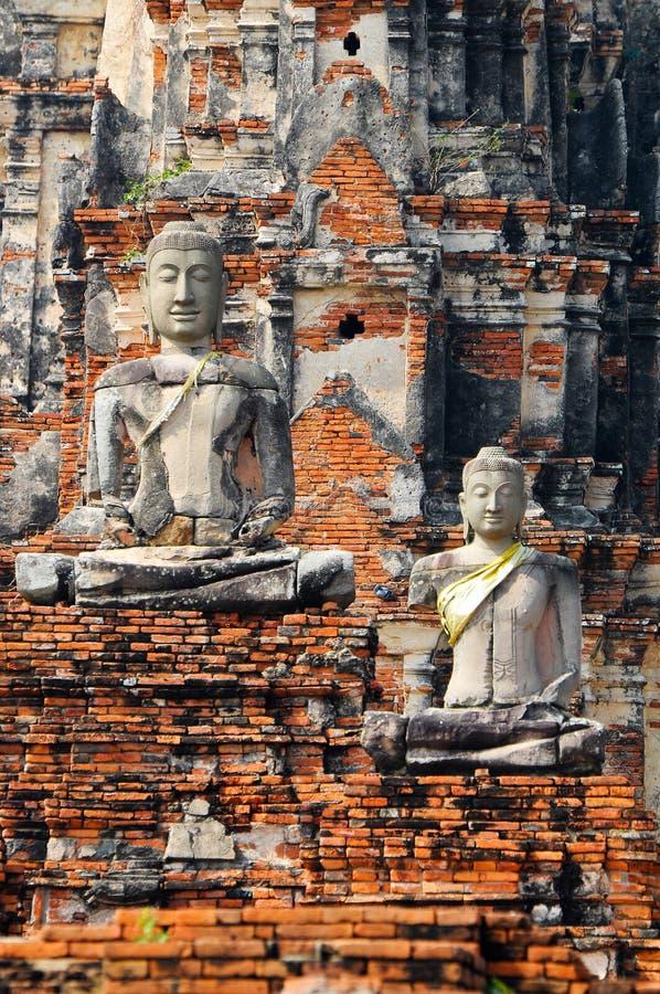 Ruin image of Buddha in Ayutthaya historical park stock photos