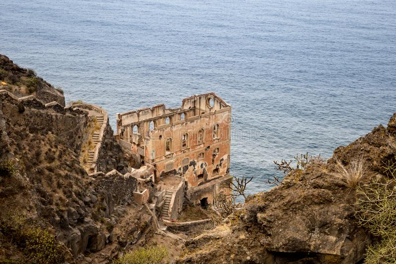 Ruin of Los Realejos on Cliff of Tenerife, Spanien lizenzfreie stockfotografie