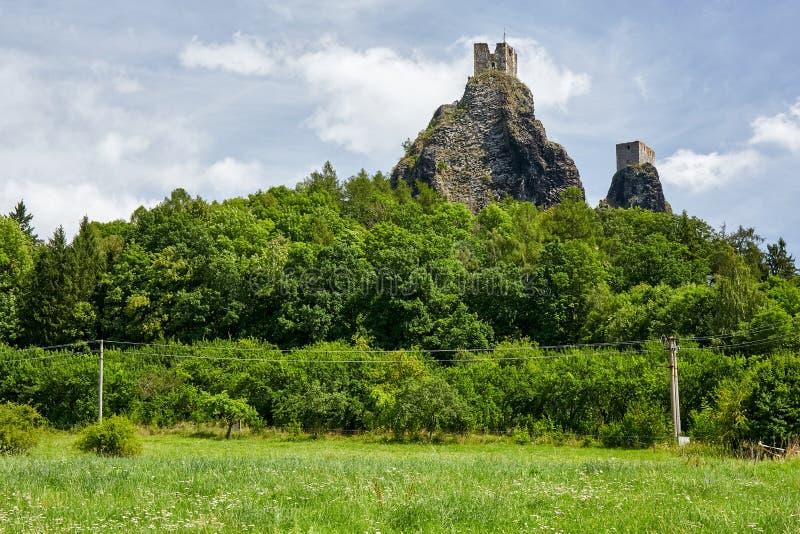 Ruin of medieval gothic castle Trosky. CZECH REPUBLIC,TROSKY - AUGUST 4, 2016: Ruin of medieval gothic castle Trosky in National Park Cesky Raj Bohemian Paradise stock photography
