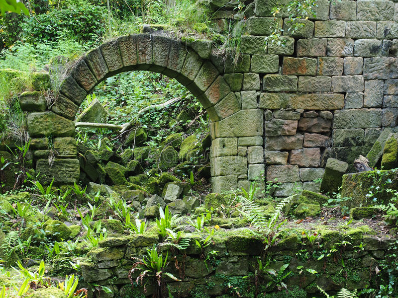 Ruin near Secret Waterfall in Lumsdale Valley stock images