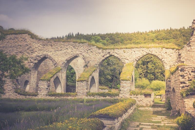 Ruin of an old monastery stock photos