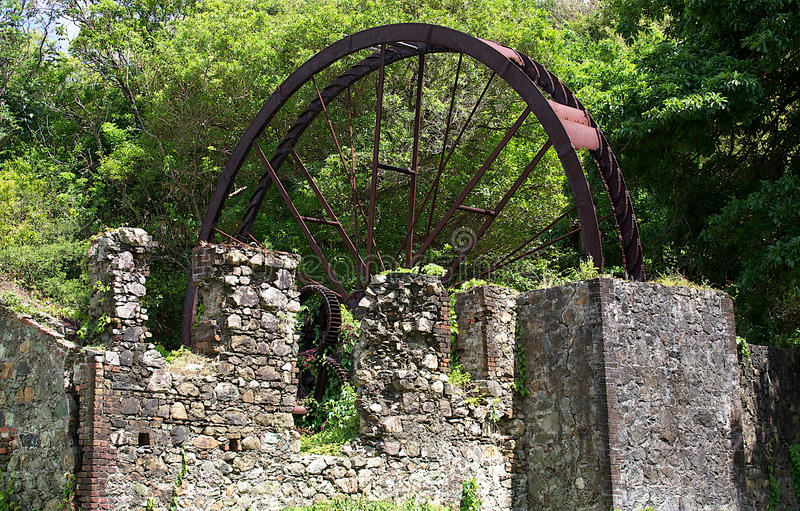 Old sugar mill near Speyside, Tobago stock images