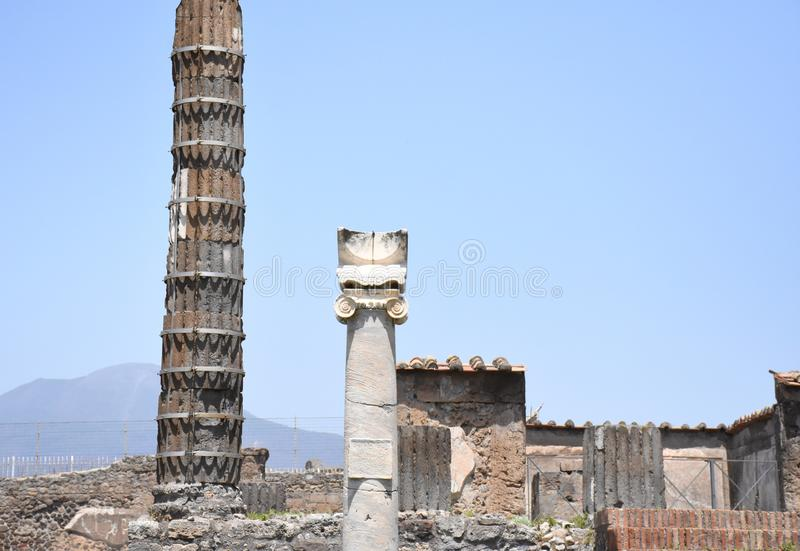 Ruin in Pompeii, Naples, Italy. Ruined columns in Pompeii, Naples, Italy stock photos