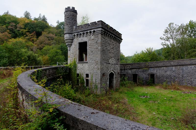Ruin railway station Station Château Royal d`Ardenne, Houyet, Belgium royalty free stock photo