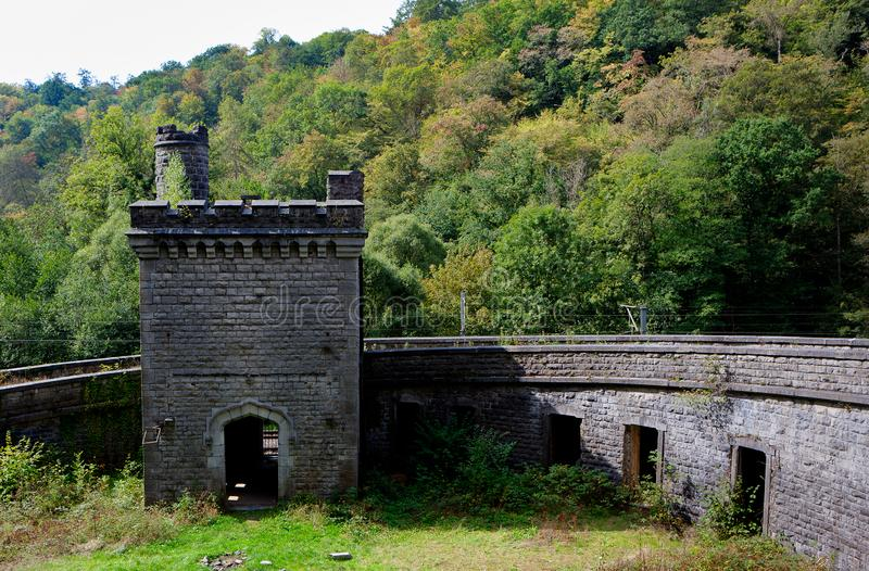 Ruin railway station Station Château Royal d`Ardenne, Houyet, Belgium stock photography