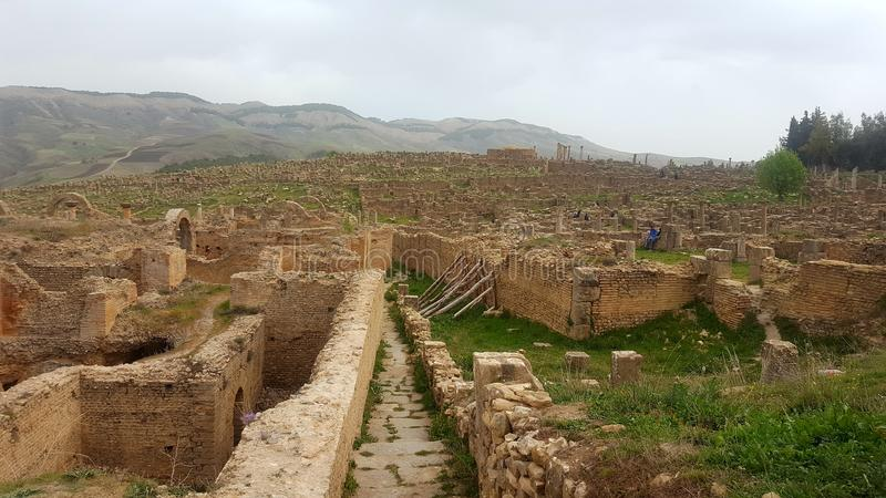 Ruin& x27; s-Dorf von Djemila, Algerien lizenzfreie stockfotos