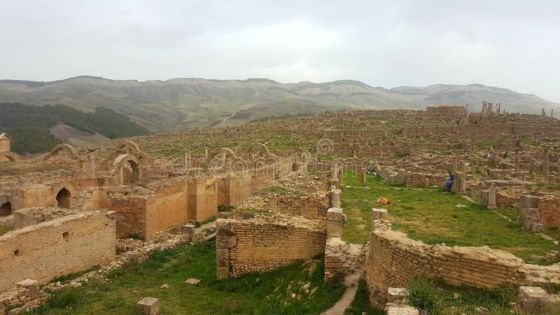 Ruin village of Djemila, Algeria royalty free stock photography