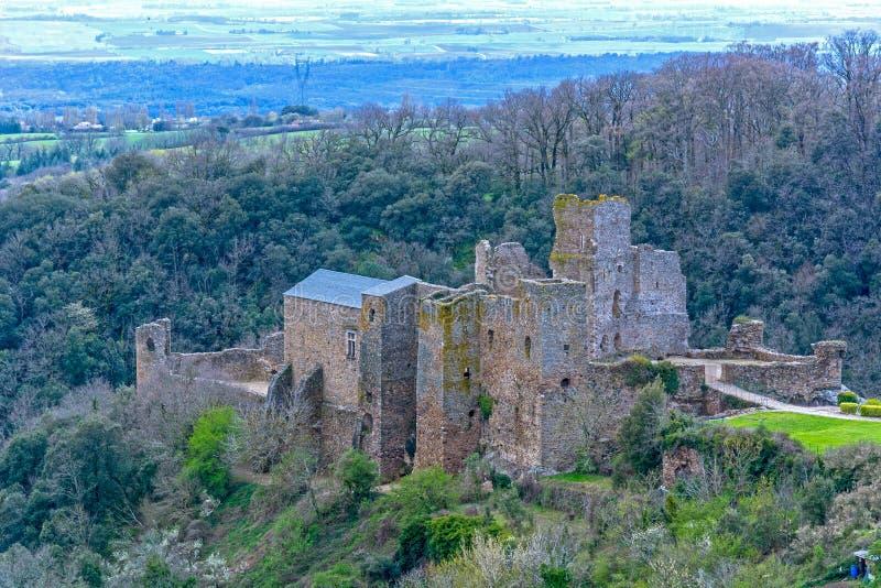 Ruin of Saissac castle in France stock photo