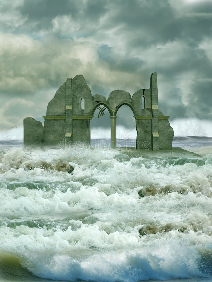 Ruin in the sea. With waves royalty free stock image