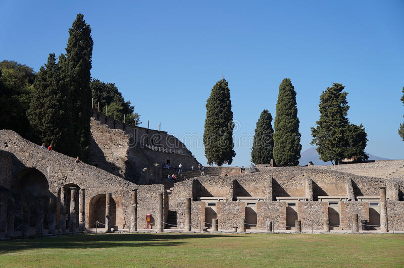 The ruin theater in Pompeii royalty free stock photography