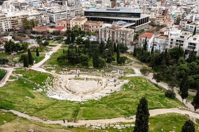 The ruin of the Theatre of Dionysus in Athens, Greece viewed from Acropolis stock photography
