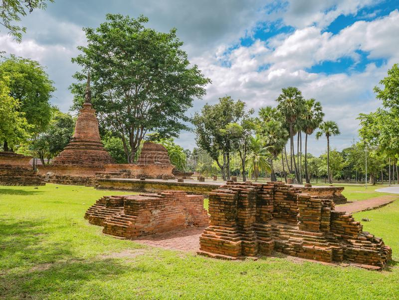 Ruin of Wat traphang ngoen Temple Area in sukhothai historical park. Thailand travel stock images