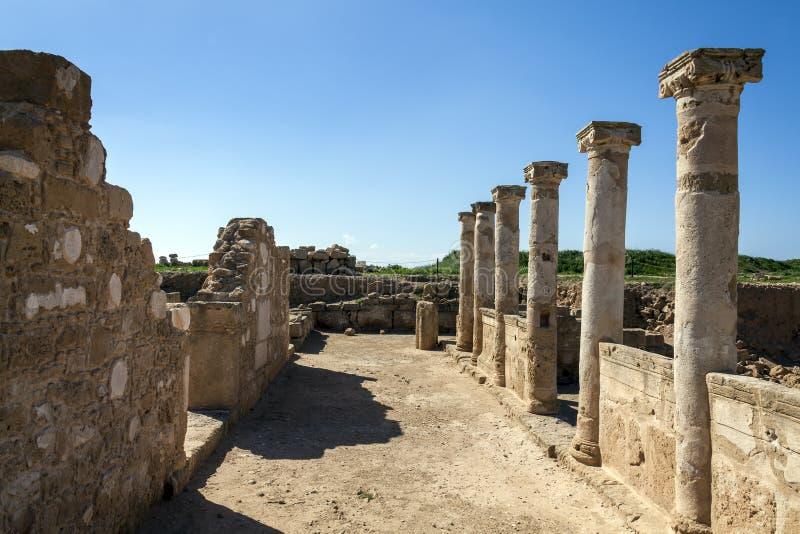 Ruina antigua del edificio de Roman Columns foto de archivo