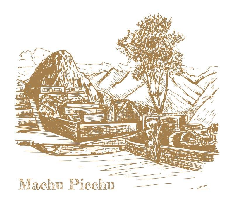 Ruina antyczna cywilizacja Mach Picchu ilustracja wektor
