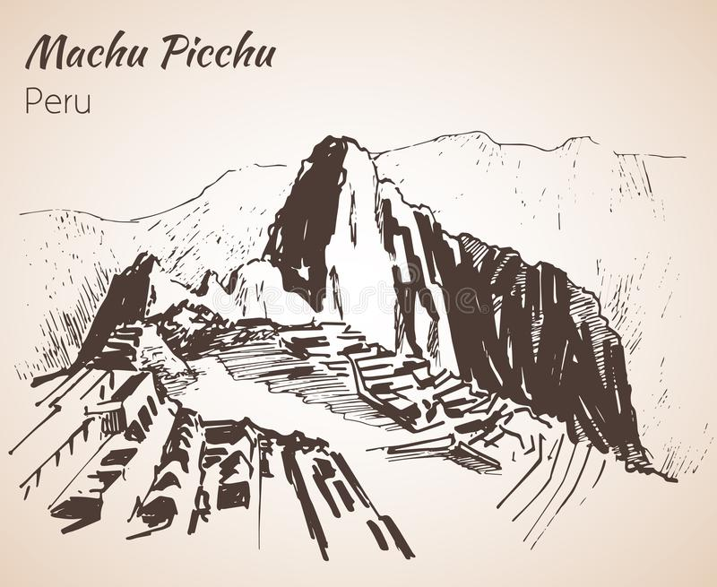 Ruina antyczna cywilizacja Mach Picchu Peru, nakreślenie ilustracja wektor