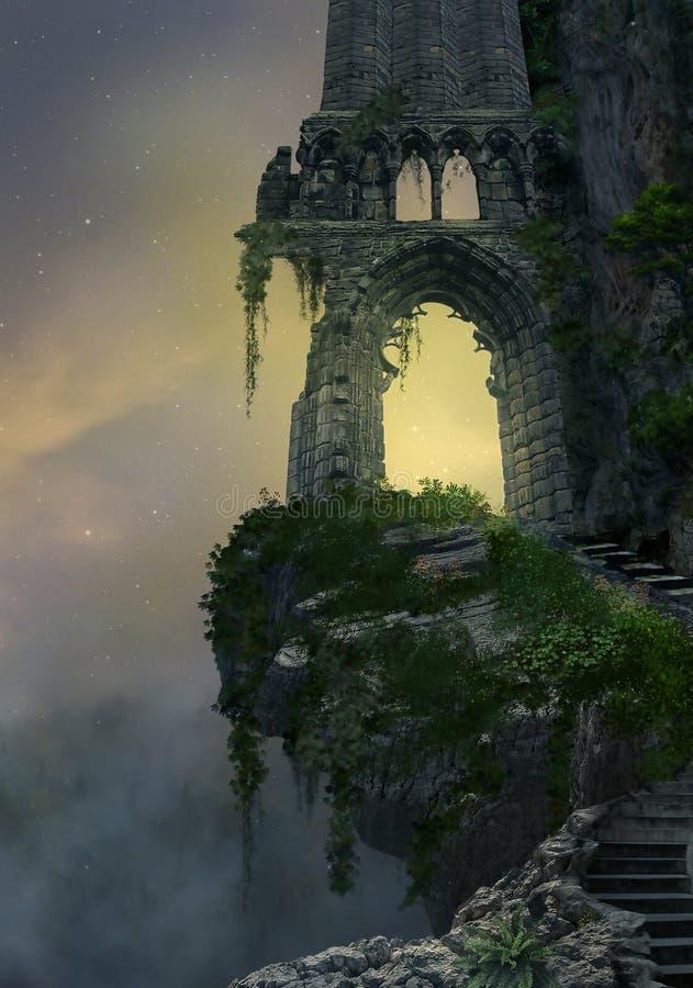 Ruina de la fantasía ilustración del vector