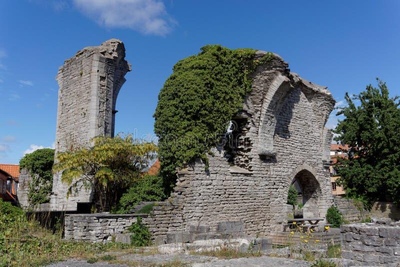 Ruina de la iglesia en Visby, Suecia fotografía de archivo libre de regalías