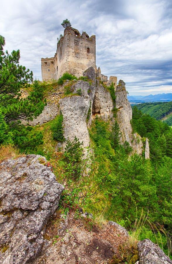 Ruina del castillo Lietava imagen de archivo libre de regalías