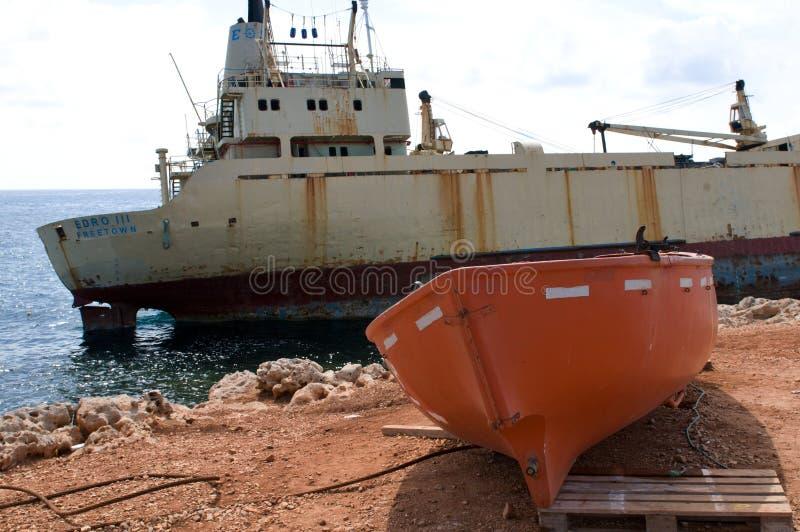 Ruina EDRO III de la nave en Chipre foto de archivo