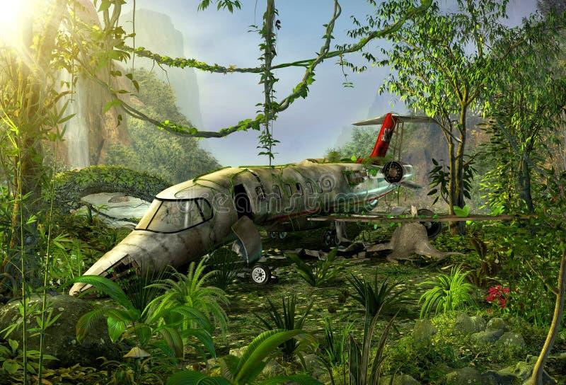 Ruina en la selva - lugar del accidente del aeroplano ilustración del vector