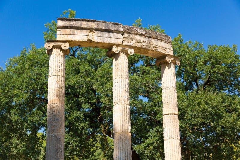 Ruina en Olympia - santuario de Grecia antigua fotografía de archivo libre de regalías