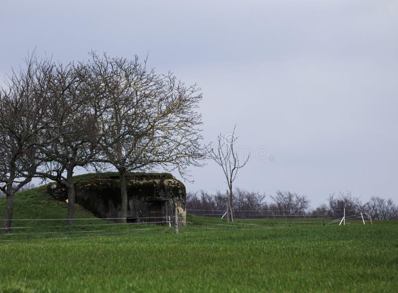 Ruina francesa de la arcón cerca de Langensoultzbach, los Vosgos, Francia Fue construido antes de WWII como parte de la línea de  fotos de archivo libres de regalías