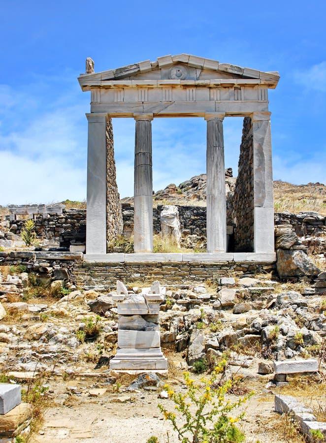 Ruinas antiguas de Delos, Grecia fotografía de archivo