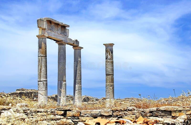 Ruinas antiguas de Delos, Grecia imágenes de archivo libres de regalías