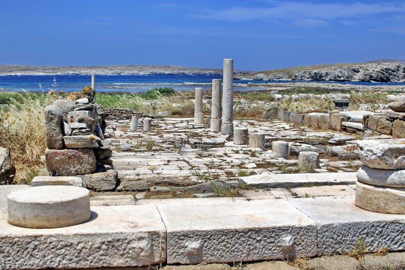 Ruinas antiguas de Delos, Grecia imagenes de archivo