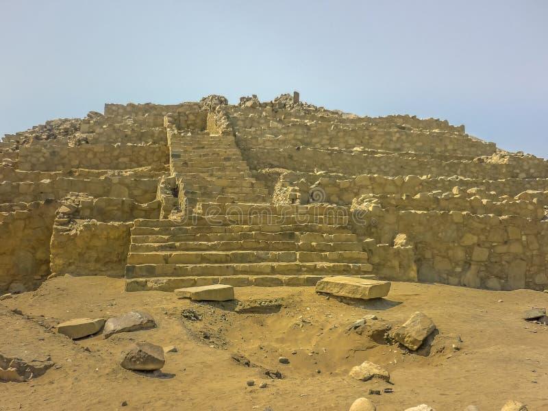 Ruinas antiguas de Supe de la civilización de la ciudad de Caral fotos de archivo libres de regalías