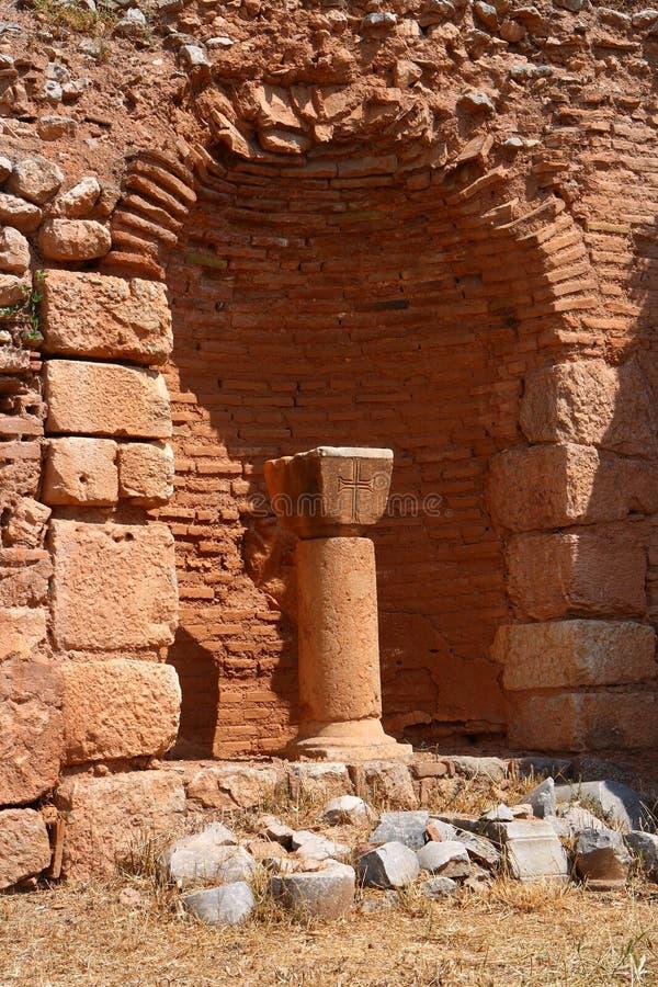 Ruinas antiguas del cristiano en Delphi fotografía de archivo