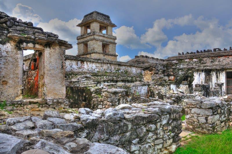 Ruinas antiguas del maya de Palenque, México foto de archivo