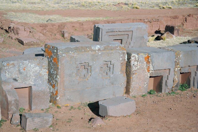Ruinas antiguas del puma Punku, Tiwanaku, Bolivia fotos de archivo libres de regalías