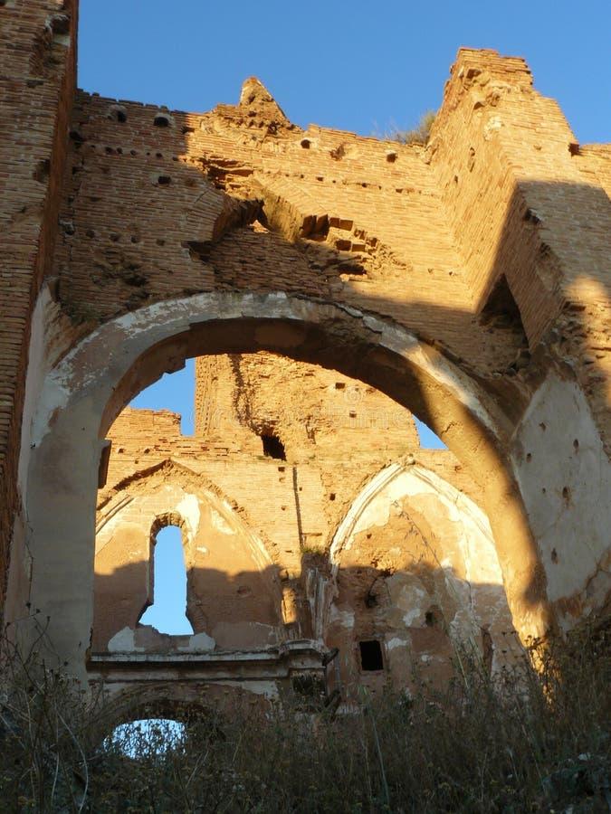 Ruinas de Belchite, Zaragozxa, España fotos de archivo