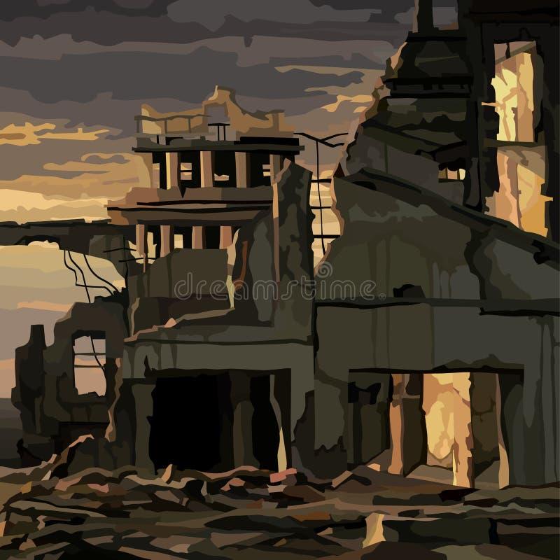 Ruinas de casas destruidas en la iluminación melancólica de la puesta del sol libre illustration