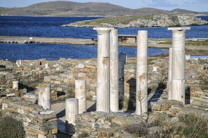 Ruinas de Delos foto de archivo libre de regalías