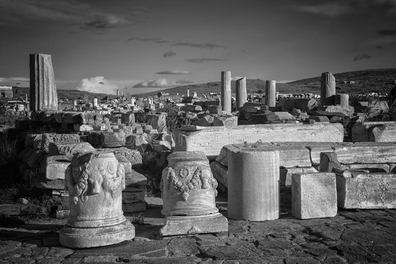 Ruinas de Delos imagen de archivo