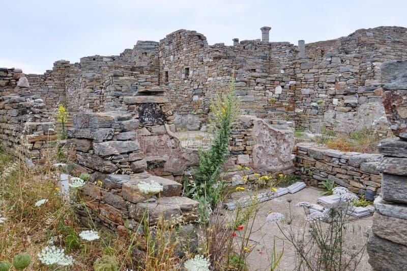Ruinas de Delos antiguo, isla cerca de Mykonos, Grecia fotografía de archivo