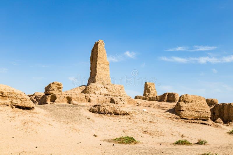 Ruinas de Gaochang, Turpan, China Fechando m?s de 2000 a?os, son las ruinas m?s viejas de Xinjiang fotos de archivo