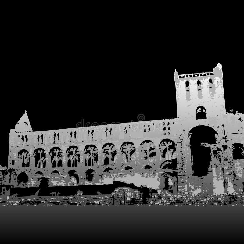 Ruinas de la abadía de Jedburgh stock de ilustración