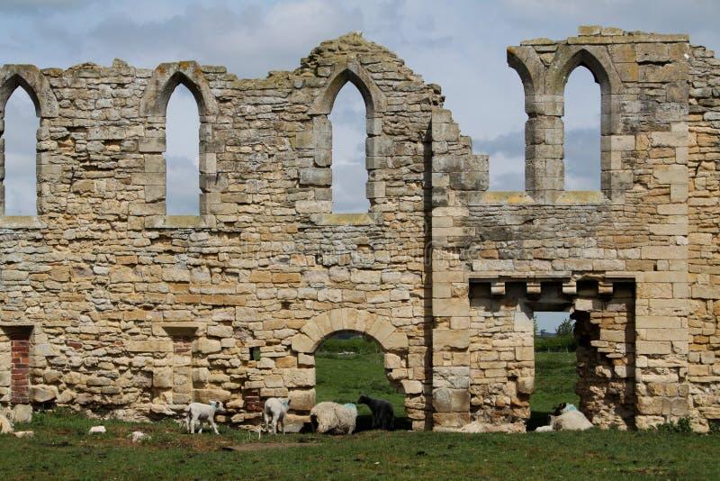 Ruinas de la abadía de Tupolme, cerca del balneario Lincolnshire de Woodhall, foto de archivo