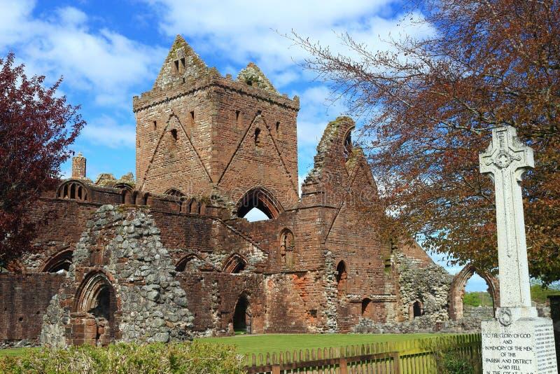 Ruinas de la abadía y claustro enamorados en el día de la primavera soleada, nueva abadía, Escocia imagen de archivo