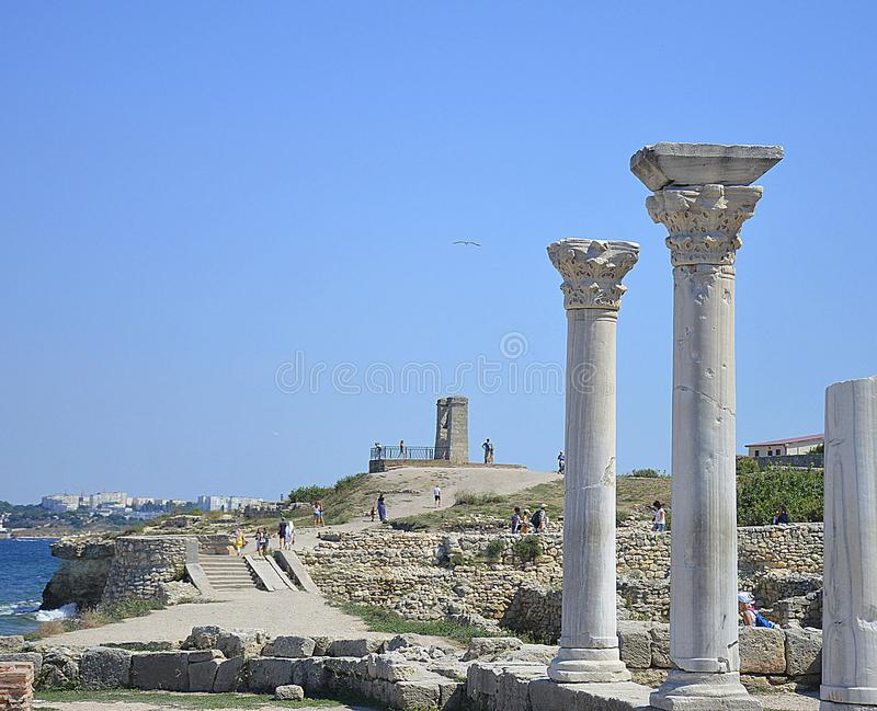 Ruinas de la antigüedad de la ciudad del griego clásico de Chersonese fotos de archivo libres de regalías