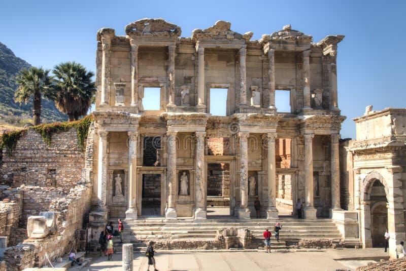 Ruinas de la biblioteca de Celsus en Ephesus, Turquía fotos de archivo