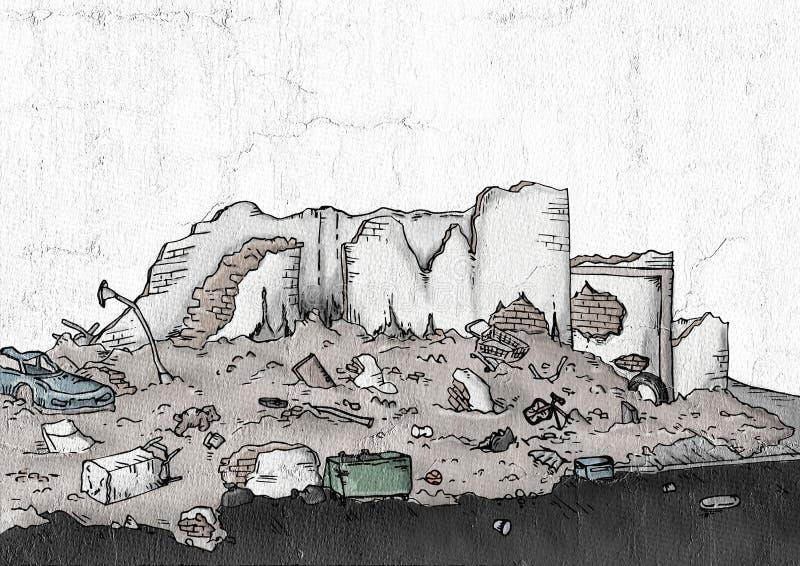 Ruinas de la calle ilustración del vector