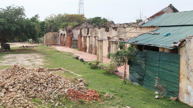 Ruinas de la casa del ` s de la reina - Jaffna - Sri Lanka foto de archivo libre de regalías