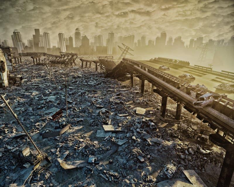 Ruinas de la ciudad ilustración del vector
